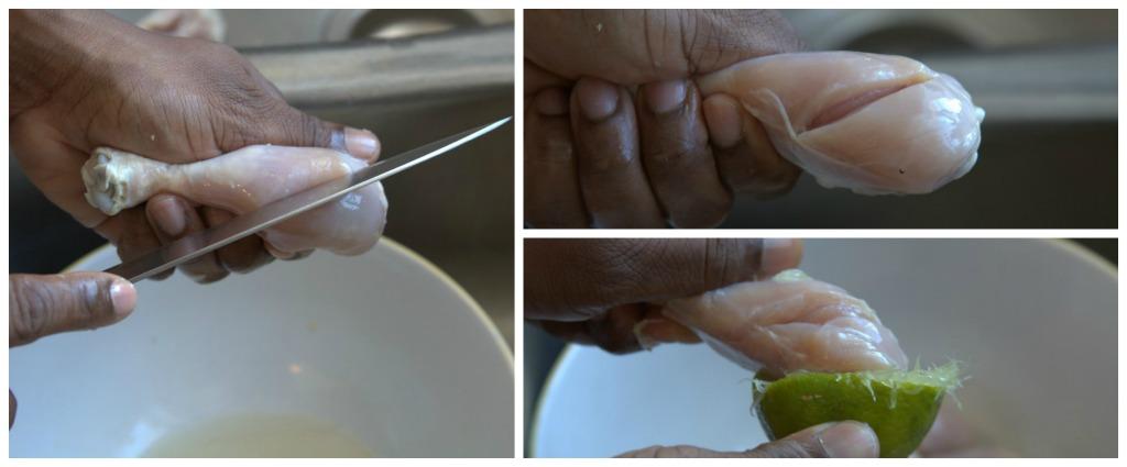 incision et nettoyage du poulet